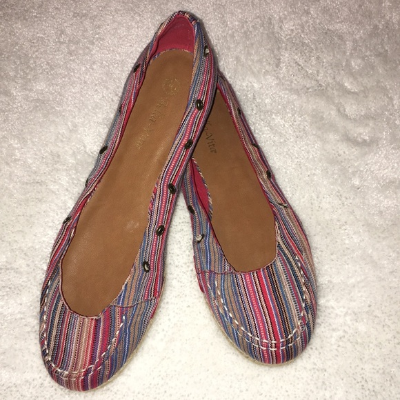 1c82a9b88cd6e Bella Vita Colorful Striped Flats - Size 12